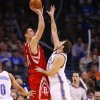 Yao Ming shoots over Nenad Krstic in the first half as the Oklahoma City Thunder plays the Houston Rockets at the Ford Center in Oklahoma City, Okla. on Friday, January 9, 2009. Photo by Steve Sisney/The Oklahoman