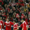 Benfica\'s players celebrate after Nemanja Matic, third left, from Serbia, scored their second goal against Rio Ave during their Portuguese league soccer match at Benfica\'s Luz stadium in Lisbon, Saturday, March 30, 2013. Benfica defeated Rio Ave 6-1. (AP Photo/Francisco Seco)
