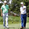 Scott Verplank, right, talks with Bob Tway during a practice round for the U.S. Senior Open golf tournament at Oak Tree National in Edmond, Okla. on Tuesday, July 8, 2014. Photo by Chris Landsberger, The Oklahoman