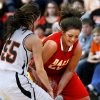 Dale\'s Lexes Satterwhite battles for the ball as the Tonkawa Lady Bucs play the Dale Lady Pirates in class 2A State Playoff girls basketball at Westmoore High School on Thursday, March 7, 2013, in Moore, Okla. Photo by Steve Sisney, The Oklahoman