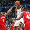 Oklahoma City\'s Kevin Durant puts up a shot in front of Philadelphia\'s Andre Iguodala (#9) Willie Green (#33) and Elton Brand (#42) during the first half of their NBA basketball game at the Ford Center in Oklahoma City on Tuesday, Dec. 2, 2009. By John Clanton, The Oklahoman