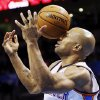 Oklahoma City\'s Derek Fisher (6) is hit in the face with the ball during a preseason NBA basketball game between the Oklahoma City Thunder and the Utah Jazz at Chesapeake Energy Arena in Oklahoma City, Sunday, Oct. 20, 2013. Oklahoma City won, 88-82. PHOTO BY NATE BILLINGS, The Oklahoman