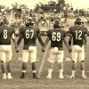 Vinita Hornets\' Captains, ready to take the field, Nash Chamberlain #8, Jeremiah Nelson #67, Kolbi Phillips #69, and Jake Roach #12