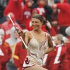 University of Oklahoma feature twirler Megan McGeary performs during pregame of a college football game between the University of Oklahoma Sooners (OU) and the Iowa State University Cyclones (ISU) at Gaylord Family-Oklahoma Memorial Stadium in Norman, Okla., Saturday, Nov. 26, 2011. Photo by Steve Sinsey, The Oklahoman