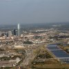 Downtown Oklahoma City showing the Oklahoma River, Devon Tower and the new I-40 crosstown. Photo by Donald Haslam