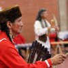 Steve Kaudlekaule performs in a gourd dance. He is a member of the Comanche Nation and drove from Ponca City to attend the pow-wow.At least 500 people representing several dozen Native American Nations within the state attended a New Year\'s pow-wow in the Centennial Building at State Fair Park Saturday , January 7, 2012, The celebration started around shortly after noon and continued into the night. Several hundred took part in the various dancers and the dancers wore tribal regalia. Photo by Jim Beckel, The Oklahoman