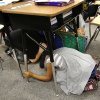 Students take cover under their desks in Melinda Jordan\'s fourth grade classroom. Cleveland Bailey Elementary School students participated in the