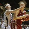 OU\'s Joanna McFarland (53) is defended by Texas A&M\'s Kelsey Assarian (40) during the women\'s college basketball Big 12 Championship tournament game between the University of Oklahoma and Texas A&M in Kansas City, Mo., Friday, March 11, 2011. Photo by Bryan Terry, The Oklahoman