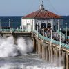 Big waves crash ashore at Manhattan Beach, Calif., Saturday, Dec. 12, 2015. The National Weather Service issued advisories and warnings for sections of the California coast due to sizable surf created by a very large northwest swell. (AP Photo/John Antczak)