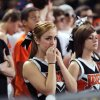 Fairview fans look on during the state high school basketball tournament Class 2A girls semifinal game between Fairview High School and Northeast High School at the State Fair Arena on Friday, March 8, 2013, in Oklahoma City, Okla. Photo by Chris Landsberger, The Oklahoman