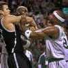 Boston Celtics Kevin Garnett, rear center, Rajon Rondo, rear right, and Jason Terry (4) clash with Brooklyn Nets Kris Humphries, left, during an NBA basketball game on Wednesday, Nov. 28, 2012, in Boston. The Nets won 95-83. (AP Photo/The Boston Globe, Jim Davis) BOSTON HERALD OUT, QUINCY OUT
