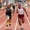 Norman North\'s Redford Jones crosses the finish line of the 4 X 100 boy\'s 6A relay just ahead of Jenk\'s Jordan Smallwood during the 5A and 6A State Track Meet in Yukon, OK, Saturday, May 11, 2013, By Paul Hellstern, The Oklahoman