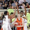 Northeast\'s Morgan Billingsley (2) and Lanesia Williams (1) defend on Fairview\'s Payton Van Meter (14) during the state high school basketball tournament Class 2A girls semifinal game between Fairview High School and Northeast High School at the State Fair Arena on Friday, March 8, 2013,, in Oklahoma City, Okla. Photo by Chris Landsberger, The Oklahoman