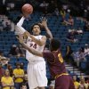 Stanford\'s Josh Huestis shoots over Arizona State\'s Carrick Felix during a Pac-12 tournament NCAA college basketball game, Wednesday, March 13, 2013, in Las Vegas. (AP Photo/Julie Jacobson)