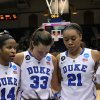 Photo - Duke's, from left, Ka'Lia Johnson, Haley Peters, Kendall McCravey-Cooper, and Oderah Chidom huddle after their 74-65 loss to DePaul in their second-round game in the NCAA basketball tournament in Durham, N.C., Monday, March 24, 2014.  (AP Photo/Ted Richardson)