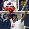 Oklahoma\'s Courtney Paris cuts the net after beating Baylor 72-61 to win the Big 12 Women\'s Championship basketball game, Saturday, March 11, 2006, in Dallas. (AP Photo/Matt Slocum)