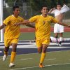 Northwest Classen\'s Juan Campos (7) celebrates his winning goal during the boys 5A soccer state championship game between Northwest Classen and Cascia Hall at Edmond North High School in Edmond, Okla., Saturday, May 12, 2012. Photo by Sarah Phipps, The Oklahoman