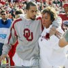 OU\'s Corey Wilson, left, stands with his mother, Wendy Wilson, before the Bedlam college football game between the University of Oklahoma Sooners (OU) and the Oklahoma State University Cowboys (OSU) at the Gaylord Family-Oklahoma Memorial Stadium on Saturday, Nov. 28, 2009, in Norman, Okla. Before the game Corey Wilson walked on Owen Field for the first time since a car wreck left him partially paralyzed in February. Photo by Nate Billings, The Oklahoman