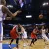 Oklahoma City\'s Caron Butler (2) inbounds the ball to Kevin Durant during an NBA basketball game between the Oklahoma City Thunder and the Philadelphia 76ers at Chesapeake Energy Arena in Oklahoma City, Tuesday, March 4, 2014. Oklahoma City won 125-92. Photo by Bryan Terry, The Oklahoman