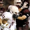 Tuttle\'s Jesse Gregory tries to get by Blanchard\'s Parker Randels during the high school football game between Blanchard and Tuttle in Blanchard,Okla., Friday, Nov. 8, 2013. Photo by Sarah Phipps, The Oklahoman