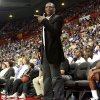 Desmond Mason, Head Coach of the Blue Team, talks with an official during the US Fleet Tracking Basketball Invitational at the Cox Convention Center in Oklahoma City Sunday, Oct. 23, 2011. Photo by John Clanton, The Oklahoman