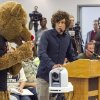Photo -   Environmentalist Jim Brown, right, uses a bear's inability to speak to exemplify