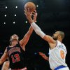 New York Knicks\' Tyson Chandler, right, battles for a rebound with Chicago Bulls\' Joakim Noah during the first half of an NBA basketball game Friday, Jan. 11, 2013, at Madison Square Garden in New York. (AP Photo/Bill Kostroun)