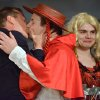 Actor Kiefer Sutherland kisses an actor during his roast as he is honored as the Hasty Pudding Man of the Year at Harvard University in Cambridge, Mass., Friday, Feb. 8, 2013. Sutherland received the pudding pot from the nation\'s oldest undergraduate drama troupe. (AP Photo/Josh Reynolds)