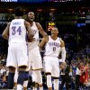 L.A. CLIPPERS / REACTION: Oklahoma City\'s Hasheem Thabeet (34), Kevin Durant (35), and Russell Westbrook (0) react during an NBA basketball game between the Oklahoma City Thunder and the Los Angeles Clippers at Chesapeake Energy Arena in Oklahoma City, Wednesday, Nov. 21, 2012. Photo by Bryan Terry, The Oklahoman