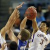 Weleetka\'s Shaun Bencoma, right, and Jackson Frye block the shot of Glencoe\'s Hunter Hall during the Class A boys state championship between Glencoe and Weleetka at the State Fair Arena., Saturday, March 2, 2013. Photo by Sarah Phipps, The Oklahoman