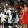 United States\' Kevin Durant and Russell Westbrook celebrate after the men\'s gold medal basketball game against Spain at the 2012 Summer Olympics, Sunday, Aug. 12, 2012, in London. USA won 107-100. (AP Photo/Charles Krupa)