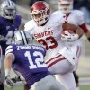Oklahoma Sooners\' Trey Millard (33) runs past Kansas State Wildcats\' Ty Zimmerman (12) for a touchdown during the college football game between the University of Oklahoma Sooners (OU) and the Kansas State University Wildcats (KSU) at Bill Snyder Family Stadium on Saturday, Oct. 29, 2011. in Manhattan, Kan. Photo by Chris Landsberger, The Oklahoman ORG XMIT: KOD