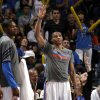 Oklahoma City\'s Russell Westbrook (0) celebrates a Thunder three-point shot during the NBA basketball game between the Oklahoma City Thunder and the Toronto Raptors at Chesapeake Energy Arena in Oklahoma City, Sunday, April 8, 2012. Photo by Sarah Phipps, The Oklahoman.