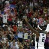 United States\' LeBron James reacts during the men\'s gold medal basketball game against Spain at the 2012 Summer Olympics, Sunday, Aug. 12, 2012, in London. USA won 107-100. (AP Photo/Charles Krupa)