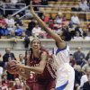 Oklahoma\'s Nicole Griffin, left, prepares to shoot over UCLA\'s Atonye Nyingifa during the second half of a second-round game in the women\'s NCAA college basketball tournament Monday, March 25, 2013, in Columbus, Ohio. Oklahoma beat UCLA 85-72. (AP Photo/Jay LaPrete) ORG XMIT: OHJL111