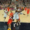 United States\' guard Chris Paul, right, jumps to score over Spain\'s forward Pau Gasol during the men\'s gold medal basketball game at the 2012 Summer Olympics in London on Sunday, Aug. 12, 2012. (AP Photo/Mark Ralston, Pool)