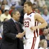 OU coach Jeff Capel greets Balke Griffin as he comes off the court during a first round game of the men\'s NCAA tournament between Oklahoma and Morgan State in Kansas City, Mo., Thursday, March 19, 2009. PHOTO BY BRYAN TERRY, THE OKLAHOMAN
