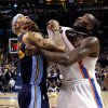 Oklahoma City\'s Kendrick Perkins (5)and Denver\'s Kenyon Martin (4) position for a rebound during the NBA basketball game between the Denver Nuggets and the Oklahoma City Thunder in the first round of the NBA playoffs at the Oklahoma City Arena, Wednesday, April 27, 2011. Photo by Sarah Phipps, The Oklahoman
