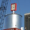 Workers install a refurbished water tower in Bricktown in Oklahoma City , Okla. October 29, 2008. BY STEVE GOOCH, THE OKLAHOMAN
