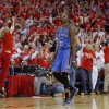 Oklahoma City\'s Kevin Durant (35) walks off the court as the crowd reacts to Houston\'s win in Game 4 in the first round of the NBA playoffs between the Oklahoma City Thunder and the Houston Rockets at the Toyota Center in Houston, Texas,Sunday, April 29, 2013. Oklahoma City lost 105-103. Photo by Bryan Terry, The Oklahoman
