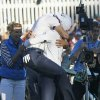 Europe\'s Martin Kaymer leaps into the arms of Sergio Garcia after winning the Ryder Cup PGA golf tournament Sunday, Sept. 30, 2012, at the Medinah Country Club in Medinah, Ill. (AP Photo/Charles Rex Arbogast) ORG XMIT: PGA200