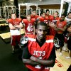 Western Heights High School player JoJo Durham poses with the team\'s linemen in the school\'s weight room on Tuesday, Sept. 18, 2007. By John Clanton, The Oklahoman