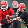 Photo - Georgia running back Todd Gurley (3), left, takes a handoff from Georgia quarterback Hutson Mason (14) during a Georgia spring football practice on Tuesday, March 18, 2014, in Athens, Ga. (AP Photo/Athens Banner-Herald, AJ Reynolds)