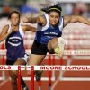 Plainview\'s C.J. Hornback competes in the girls 100 meter hurdles during the Meet of Champions track meet at Moore High School in Moore, Okla., Tuesday, May 15, 2012. Photo by Nate Billings, The Oklahoman