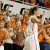 Oklahoma State\'s Liz Donohoe (4) celebrates during the women\'s NIT semifinal college basketball game between Oklahoma State University (OSU) and San Diego at Gallagher-Iba Arena in Stillwater, Okla., Wednesday, March 28, 2012. Oklahoma State won 73-57. Photo by Bryan Terry, The Oklahoman