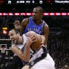 San Antonio\'s Manu Ginobili (20) drives past Oklahoma City\'s Kevin Durant (35) during Game 1 of the Western Conference Finals in the NBA playoffs between the Oklahoma City Thunder and the San Antonio Spurs at the AT&T Center in San Antonio, Monday, May 19, 2014. Photo by Sarah Phipps, The Oklahoman