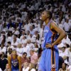Oklahoma City\'s Kevin Durant (35) looks up after an Oklahoma City foul late in Game 4 of the NBA Finals between the Oklahoma City Thunder and the Miami Heat at American Airlines Arena, Tuesday, June 19, 2012. Oklahoma City lost 104-98. Photo by Bryan Terry, The Oklahoman