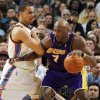 Thabo Sefolosha (2) of Oklahoma City defends Lamar Odom (7) of Los Angeles during the NBA basketball game between the Los Angeles Lakers and the Oklahoma City Thunder at the Ford Center in Oklahoma City, Friday, March 26, 2010. Photo by Nate Billings, The Oklahoman