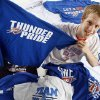 Oklahoma City Thunder fan Jackson Kinnear poses for a photo with his 20 Oklahoma City Thunder Playoff shirts, one from every playoff game through the 2012 Western Conference Finals, in Oklahoma City, Friday, June 8, 2012. Photo by Nate Billings/The Oklahoman