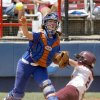 Florida\'s Kristina Hilberth throws for a double play after forcing out Virginia Tech\'s Jessica Everhart in the seventh inning in the Women\'s College World Series between Florida and Virginia Tech at ASA Hall of Fame Stadium in Oklahoma City, Saturday, May 31, 2008. BY BRYAN TERRY, THE OKLAHOMAN